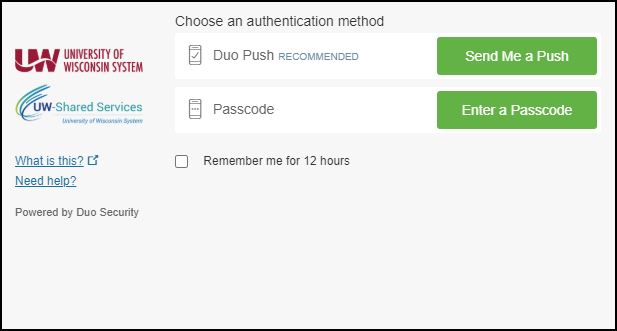 DUO Multifactor Authentication Window