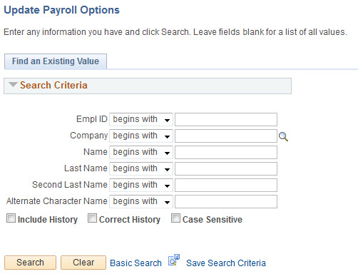 update payroll option search