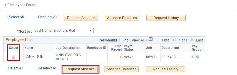 Select Employee and request absence