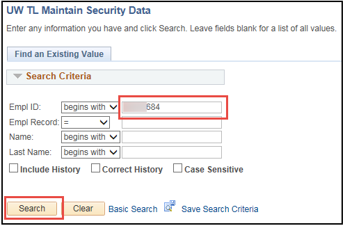 Maintain TL Security Page Enter Employee ID