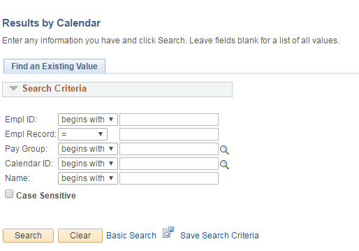 Calendar By Results Search