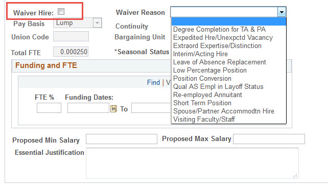 9.2 create job opneing waiver hire