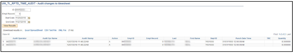 Reported Time Audit Query