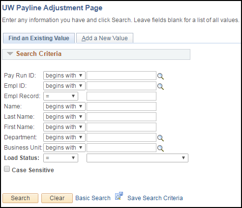Payline Adjustment Page