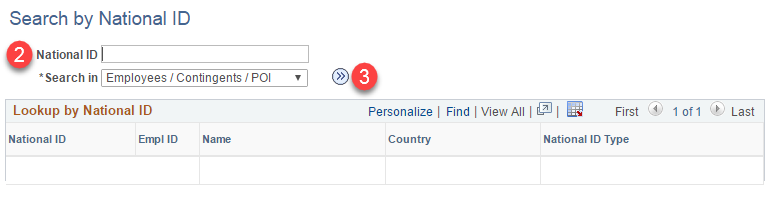 Search for a person using national ID