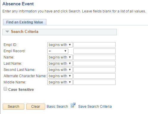 Absence Event Search