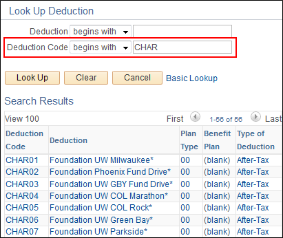 Deduction Code Lookup