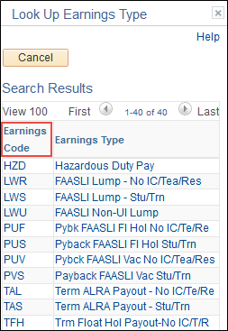 Earnings Code Lookup