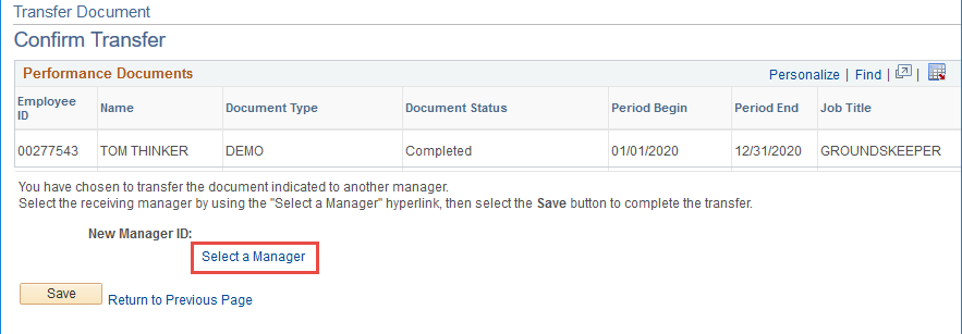select manager hyperlink