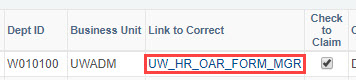Click link to open employee OAR