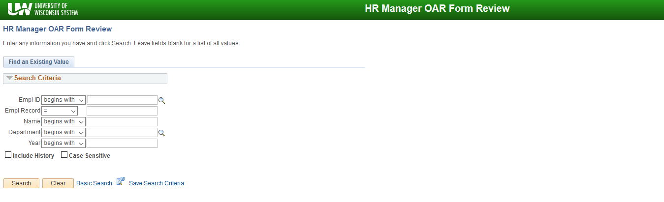HR Mgr OAR Form Review Search page